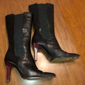 TOD'S mid calf boots black leather wood heels 6.5